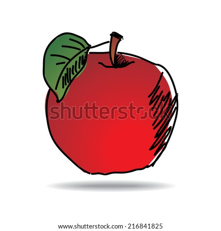 Freehand drawing apple icon - vector eps 10 illustration - stock vector
