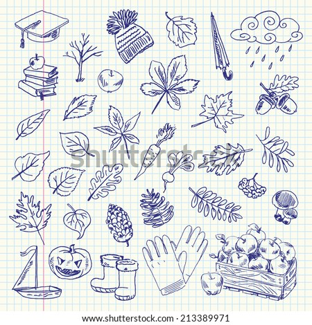Freehand drawing autumn items on a sheet of exercise book. Vector illustration. Set - stock vector