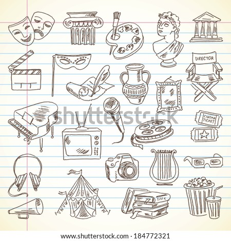 Freehand drawing Culture and Art items on a sheet of exercise book. Literature, Movie, Architecture, Sculpture, Visual Arts, Music, Photography, Theater. Vector illustration. Set - stock vector