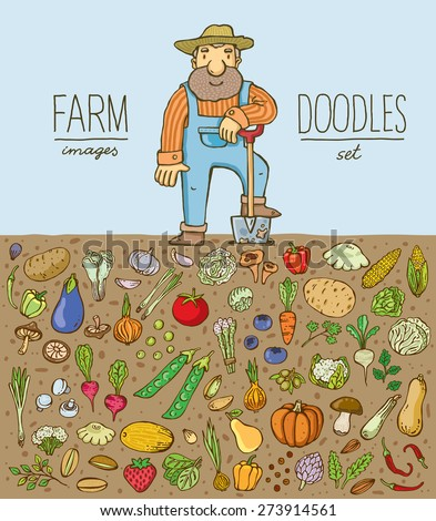Freehand drawing farmer with a set of fresh vegetables in the field. Vector. Isolated. - stock vector
