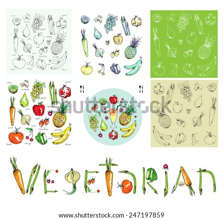 Freehand drawing fruit and vegetables plus two seamless patterns. - stock vector