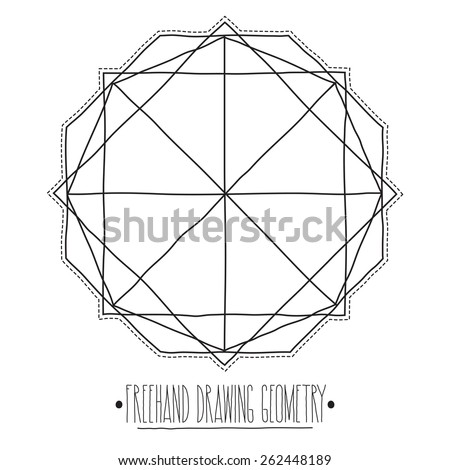 Freehand drawing geometry. Simple isolated geometric figure with white background and handwork phrase.