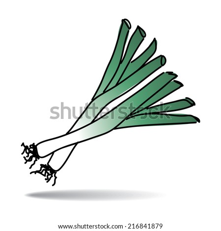Freehand drawing leek icon - vector eps 10 illustration - stock vector