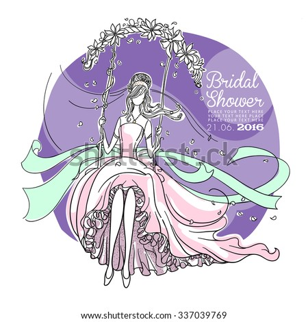 Freehand drawing of a Beautiful Bride on a swing. Bridal Shower invitation card. - stock vector
