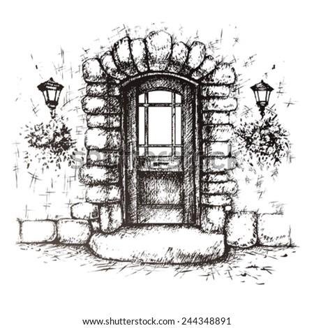 Front Door Drawing door sketch stock images, royalty-free images & vectors | shutterstock