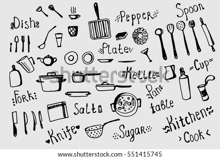 Freehand Drawing Of Kitchen Utensils Knife Spoon Fork Pan Pot