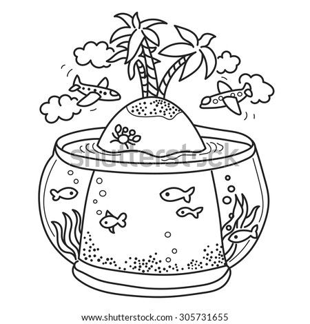 Freehand drawing - paradise island in fish tank, flying airplanes - concept of dream about vacations. Outline drawing good for coloring books - stock vector