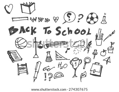 Freehand drawing school item on a sheet of exercise book. Back to School. Vector illustration. - stock vector
