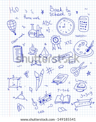 Freehand drawing school items - stock vector