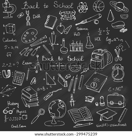 Freehand drawing school items, Back to School. Hand drawing set of school supplies sketchy doodles vector illustration, doodles, science, physics, calculus, oral exam, history, biology, Blackboard - stock vector