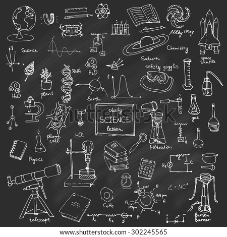 Freehand drawing school items Back to School Science theme Hand drawing set of school supplies sketchy doodles vector illustration, doodles, science, physics, chemistry, biology, astronomy, blackboard - stock vector