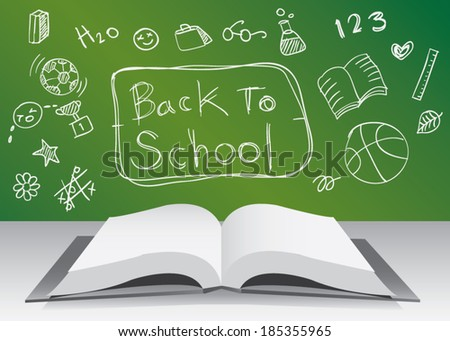 Freehand drawing school items. Back to School. Vector illustration. - stock vector