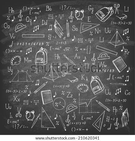 Freehand drawing school items on blackboard. Vector illustration.  - stock vector