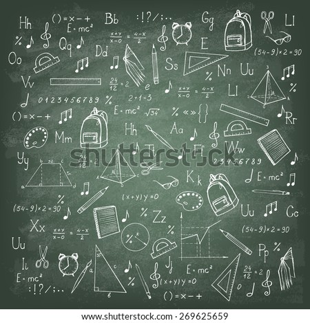 Freehand drawing school items on the green blackboard. Vector illustration. - stock vector