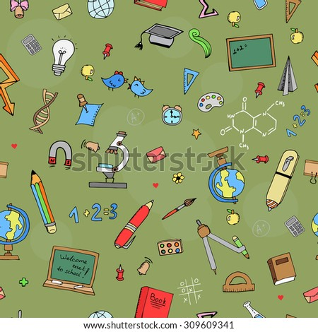 Freehand drawing school seamless pattern Back to School. Vector illustration. - stock vector