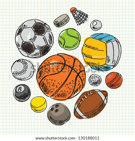Freehand drawing sport balls. Vector illustration. Set - stock vector