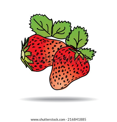 Freehand drawing strawberry icon - vector eps 10 illustration - stock vector