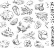 Freehand drawing vegetables. Vector illustration. Seamless pattern. Isolated on white background - stock photo