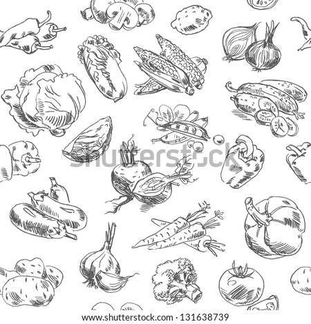 Freehand drawing vegetables. Vector illustration. Seamless pattern. Isolated on white background - stock vector