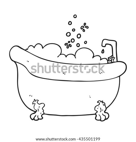 freehand drawn black and white cartoon bath full of water - stock vector