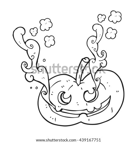 freehand drawn black and white cartoon halloween pumpkin - stock vector