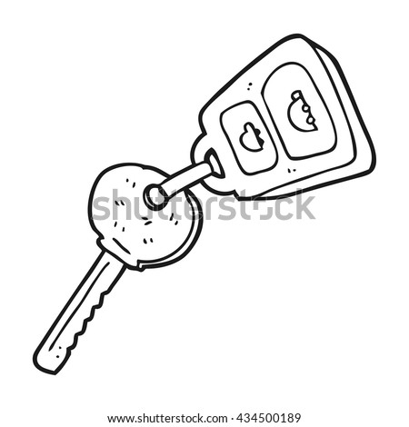 freehand drawn black and white cartoon key - stock vector