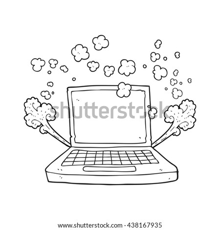 freehand drawn black and white cartoon laptop computer fault - stock vector