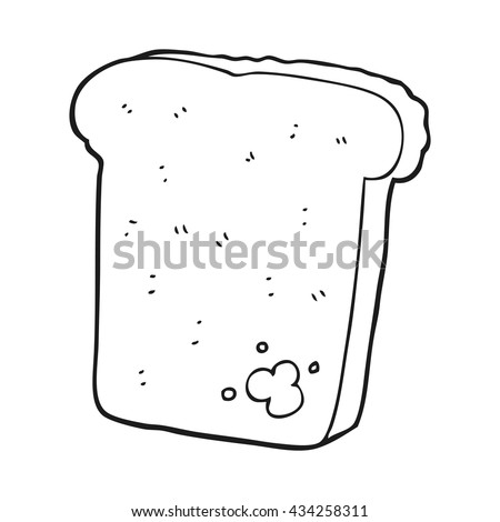 freehand drawn black and white cartoon mouldy bread - stock vector