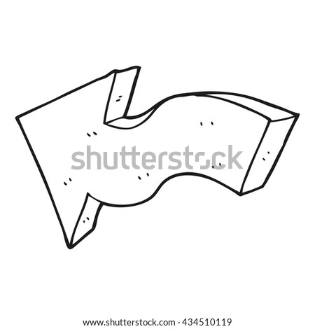 freehand drawn black and white cartoon pointing arrow - stock vector