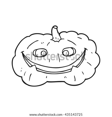 freehand drawn black and white cartoon pumpkin - stock vector