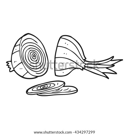 freehand drawn black and white cartoon sliced onion - stock vector