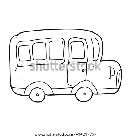 freehand drawn black and white cartoon yellow school bus
