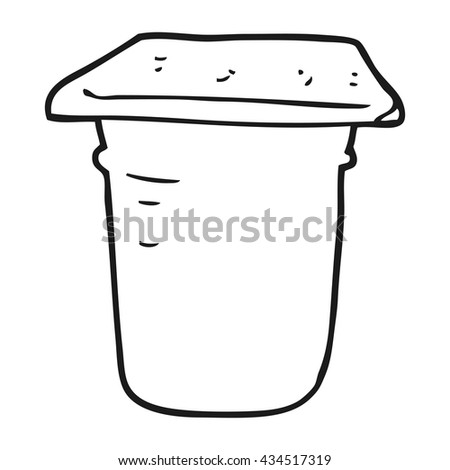 freehand drawn black and white cartoon yogurt pot - stock vector