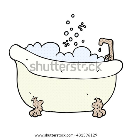 freehand drawn cartoon bath full of water - stock vector