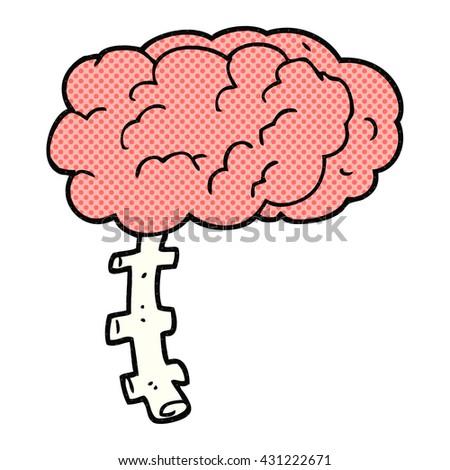 freehand drawn cartoon brain - stock vector