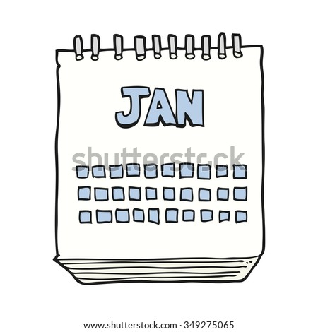 freehand drawn cartoon calendar showing month of january - stock vector