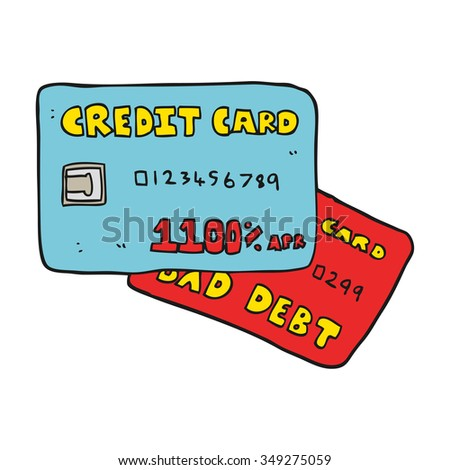 freehand drawn cartoon credit cards - stock vector