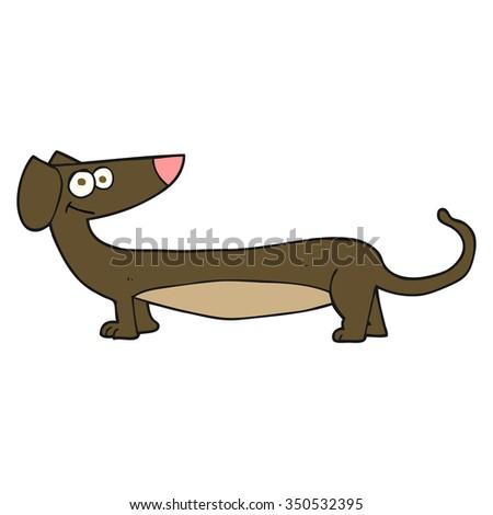 freehand drawn cartoon dachshund - stock vector