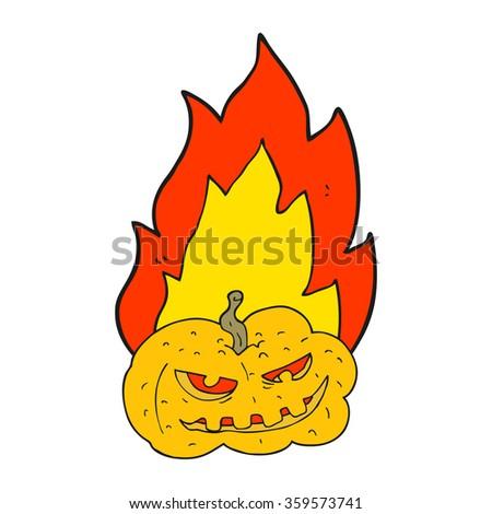 freehand drawn cartoon flaming halloween pumpkin - stock vector