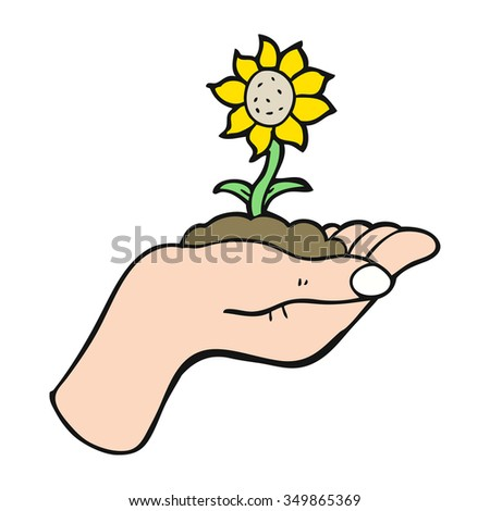 freehand drawn cartoon flower growing in palm of hand - stock vector