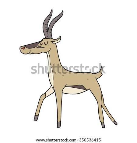 freehand drawn cartoon gazelle - stock vector