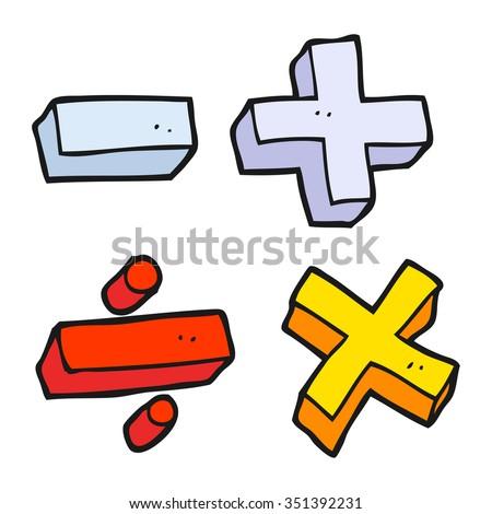 freehand drawn cartoon math symbols - stock vector