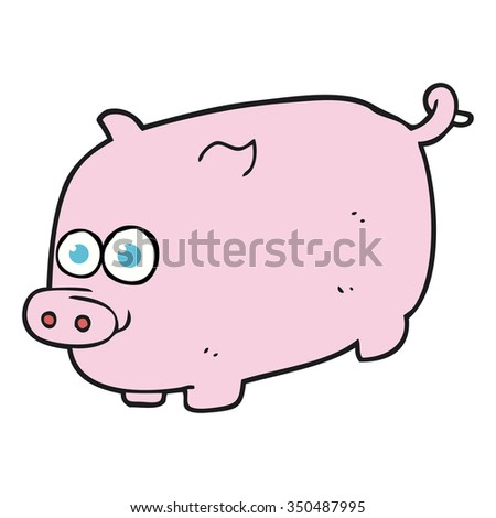 freehand drawn cartoon pig