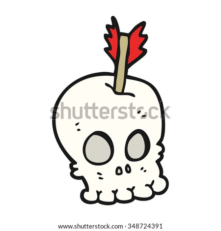 freehand drawn cartoon skull with arrow