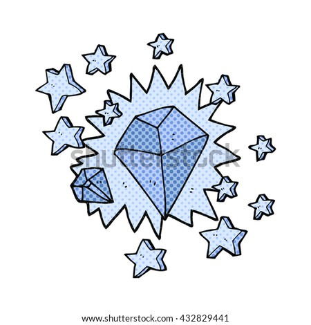freehand drawn cartoon sparkling diamond