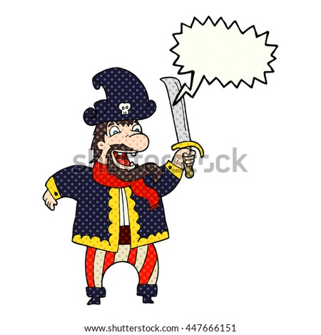 freehand drawn comic book speech bubble cartoon laughing pirate captain