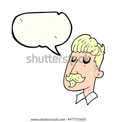 freehand drawn comic book speech bubble cartoon man with mustache