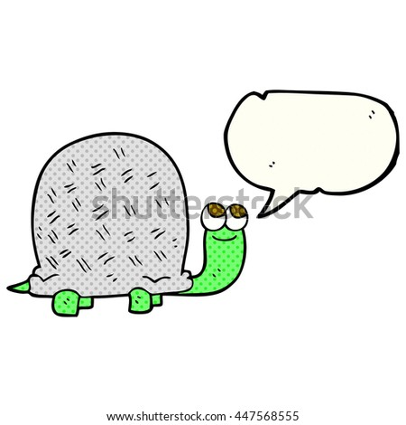 freehand drawn comic book speech bubble cartoon tortoise