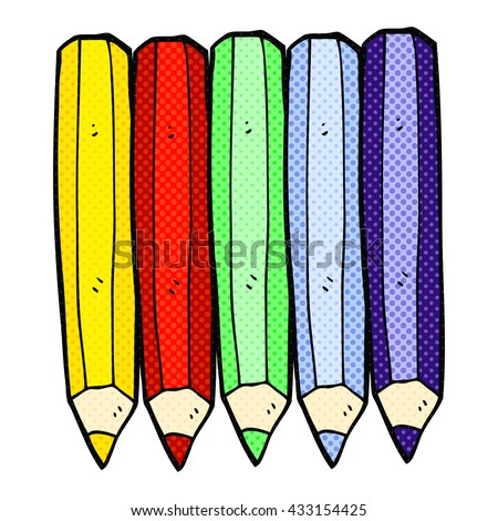 freehand drawn comic book style cartoon color pencils - stock vector