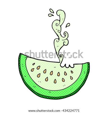 freehand drawn comic book style cartoon melon slice